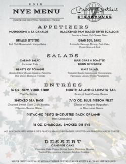New Years Eve Party OKC Menu