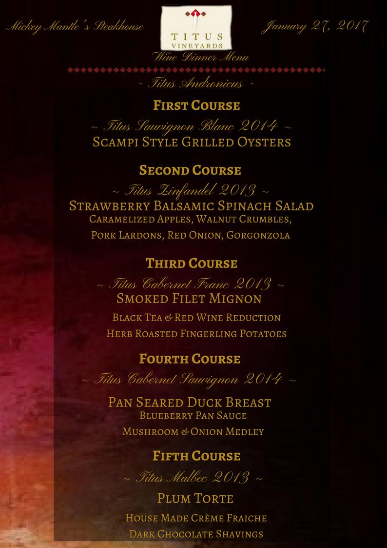 Titus Wine Dinner Menu