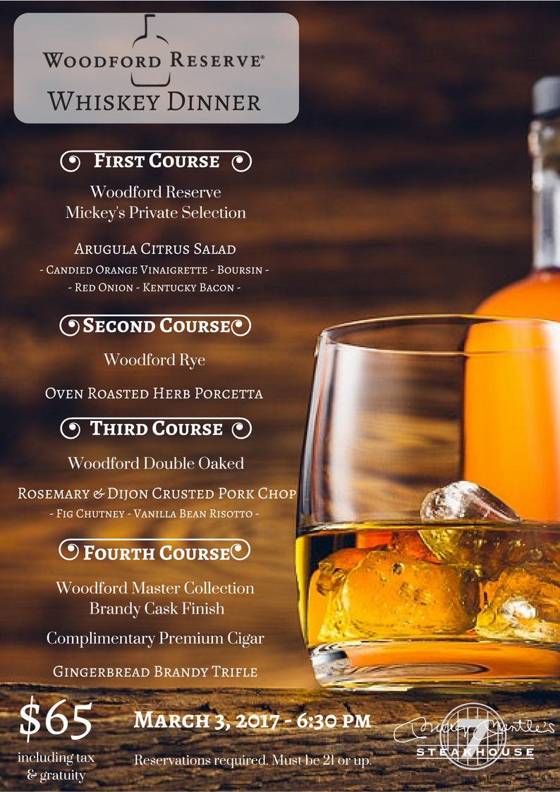 Whiskey Dinner - Woodford ReserveMenu Graphic PNG