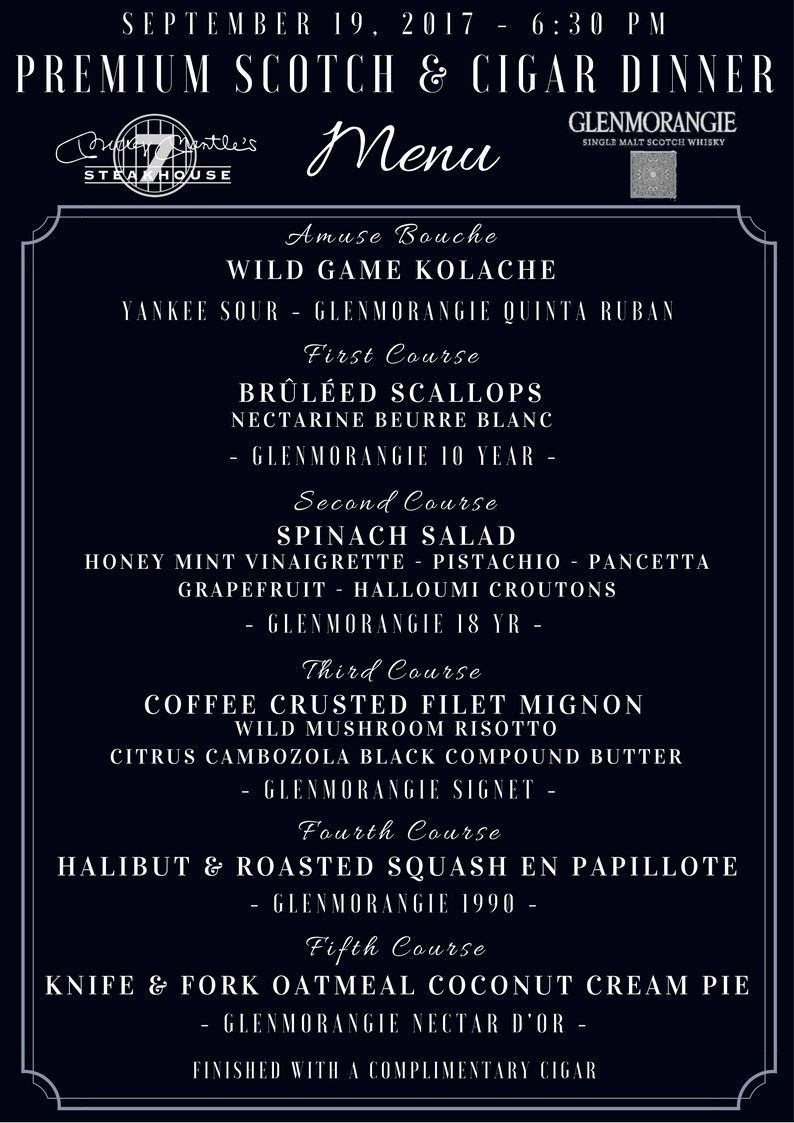 Glenmorangie Scotch & Cigar Dinner Menu